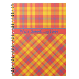 Bright Red, Yellow and Blue Plaid Spiral Notebook