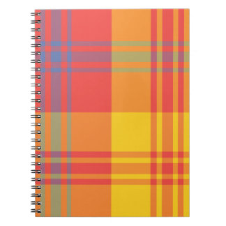 Bright Red Yellow and Blue Plaid Spiral Notebook