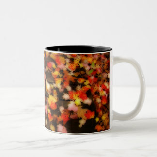 Bright Red Yellow Autumn Maple Leaves Two-Tone Coffee Mug