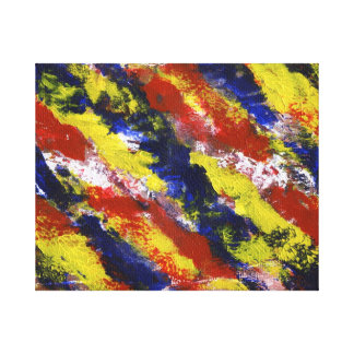 Bright Red Yellow Blue Painted Blob Stripes Canvas Print