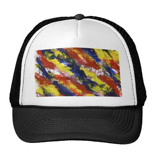 Bright Red Yellow Blue Painted Blob Stripes Trucker Hat