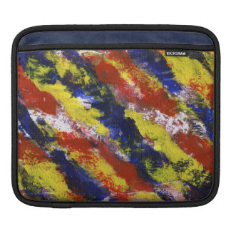 Bright Red Yellow Blue Painted Blob Stripes iPad Sleeves