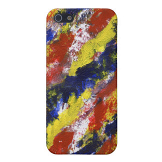 Bright Red Yellow Blue Painted Blob Stripes iPhone 5 Covers