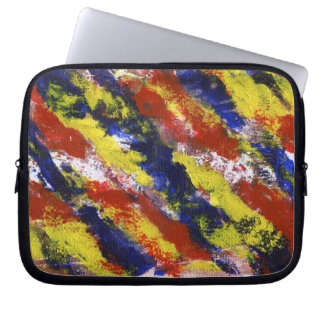 Bright Red Yellow Blue Painted Blob Stripes Computer Sleeve