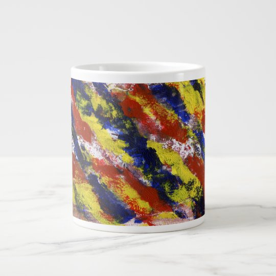 Bright Red Yellow Blue Painted Blob Stripes Large Coffee Mug