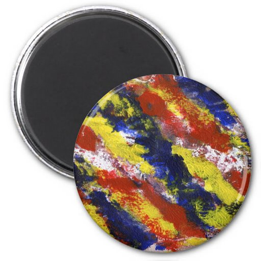 Bright Red Yellow Blue Painted Blob Stripes Refrigerator Magnets