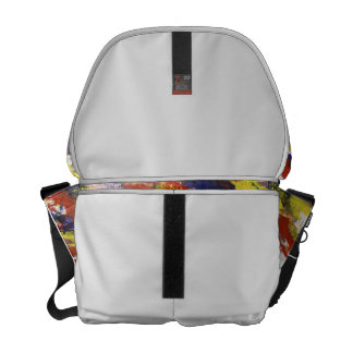 Bright Red Yellow Blue Painted Blob Stripes Messenger Bag