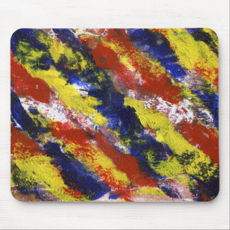 Bright Red Yellow Blue Painted Blob Stripes Mousepad