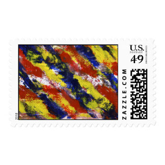 Bright Red Yellow Blue Painted Blob Stripes Stamps