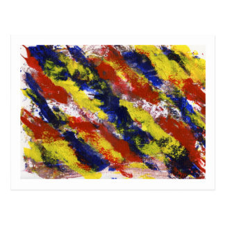 Bright Red Yellow Blue Painted Blob Stripes Postcard