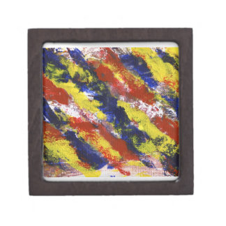 Bright Red Yellow Blue Painted Blob Stripes Premium Keepsake Boxes