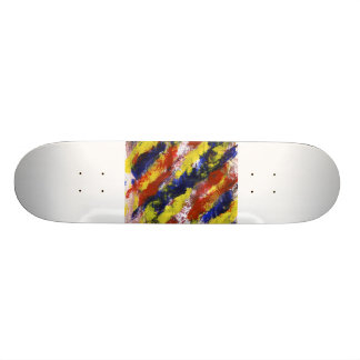 Bright Red Yellow Blue Painted Blob Stripes Skateboard Deck
