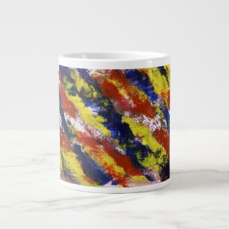 Bright Red Yellow Blue Painted Blob Stripes specialtymug