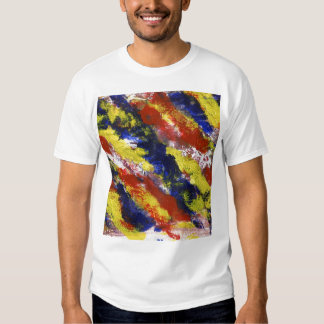 Bright Red Yellow Blue Painted Blob Stripes Tees