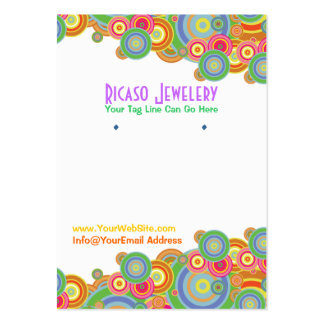 Bright Retro Circles Earring Background Large Business Card