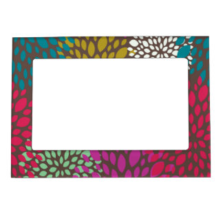 Bright Retro Floral Pattern Picture Frame Magnetic Picture Frames