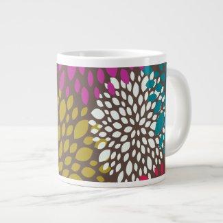 Bright Retro Floral Specialty Mug Extra Large Mugs