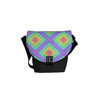 Bright Retro Girly Pastel Rainbow Pattern Blur Courier Bag