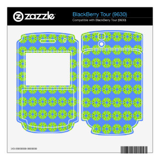 bright retro lime green blue pattern BlackBerry tour skins