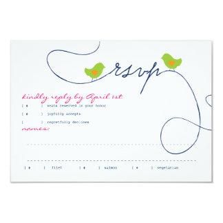 Bright Retro Love Birds Response Card