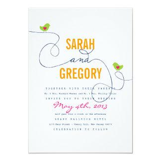 Bright Retro Love Birds Wedding Invitations