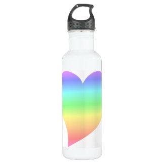 Bright Retro Pastel Rainbow Heart Love Stainless Steel Water Bottle