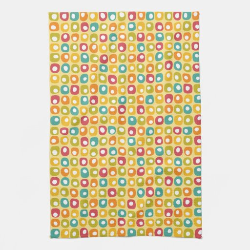Bright Retro Square Dots Pattern Red Teal Yellow Kitchen