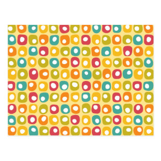 Bright retro square dots pattern red teal yellow postcard