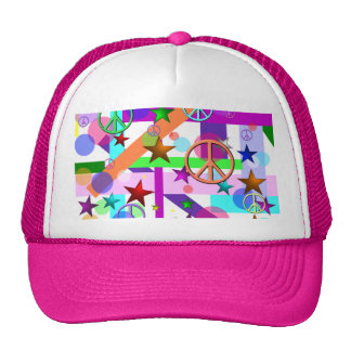 Bright Retro Style w/Peace Signs, Circles & Stars Trucker Hat
