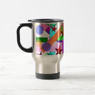 Bright Retro Style w/Peace Signs, Circles & Stars Travel Mug