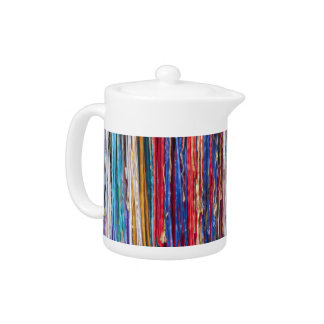 Bright ribbons, colorful stripes teapot