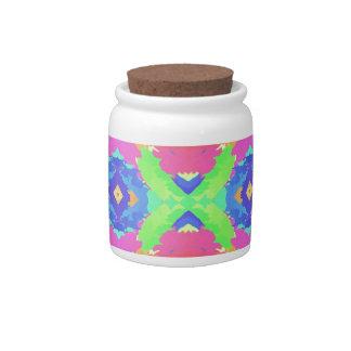 Bright Rich Pastel Tribal Pattern Candy Jar