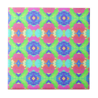 Bright Rich Pastel Tribal Pattern Ceramic Tile