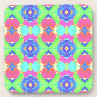 Bright Rich Pastel Tribal Pattern Drink Coaster