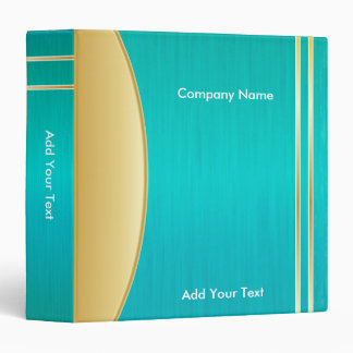 Bright Rich Turquoise and Gold Company Design Binder