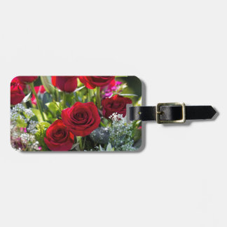 Bright Romantic Red Rose Bouquet Bag Tag