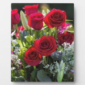 Bright Romantic Red Rose Bouquet Plaque