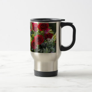 Bright Romantic Red Rose Bouquet Travel Mug