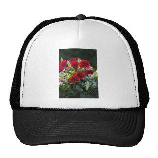 Bright Romantic Red Rose Bouquet Trucker Hat