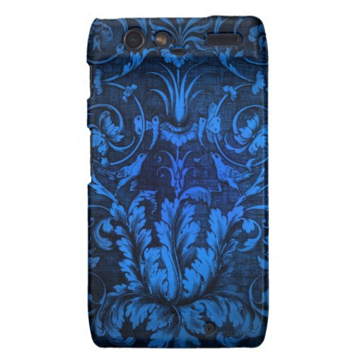 Bright Royal blue filigree with doves pattern Motorola Droid RAZR Cover