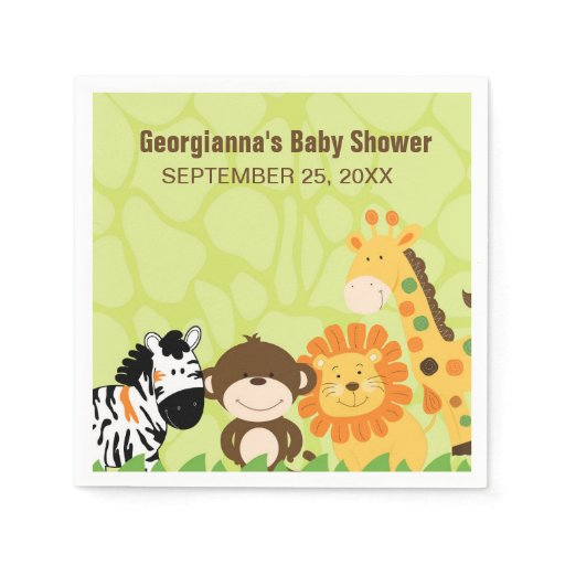 Bright Safari Animals Custom Napkin