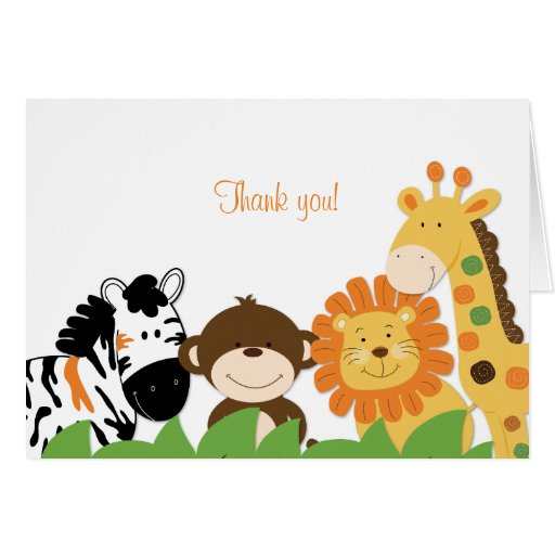 Bright Safari Animals Folded Thank you note Card