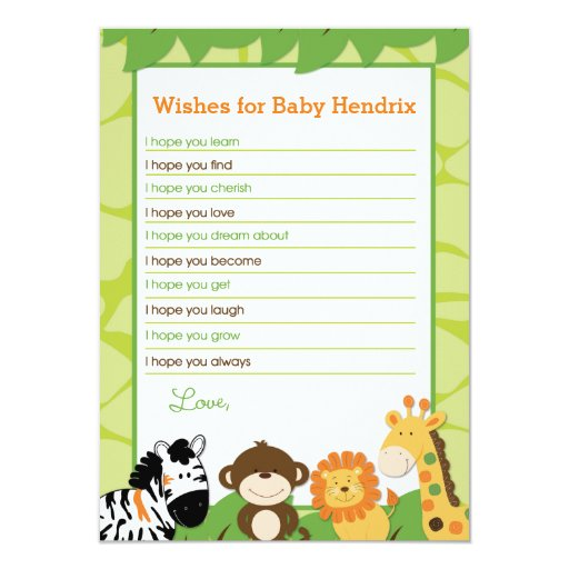 Bright Safari Animals Wishes For Baby Advice Cards