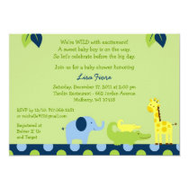 Bright Safari Jungle Animal Baby Shower Invitation