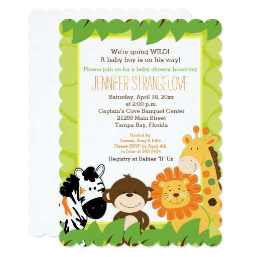 Bright Safari Jungle Animals Baby Shower die cut Card