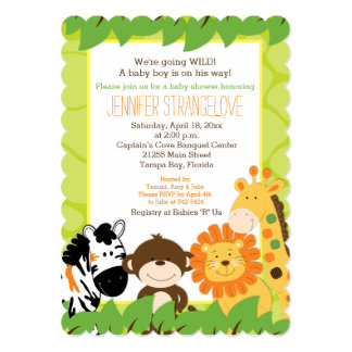 "Bright Safari Jungle Animals Baby Shower die cut 5"" X 7"" Invitation Card"