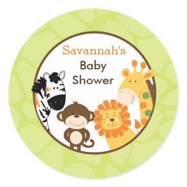 Bright Safari Jungle Animals Favor Stickers