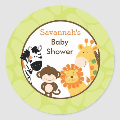 Bright Safari Jungle Animals Favor Stickers