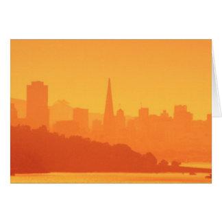 Bright San Francisco sunset. Card