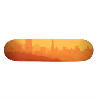 Bright San Francisco sunset. Skateboard Deck
